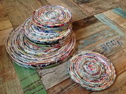 decor recycled paper placemats and round for tableware wooden placemats and coasters