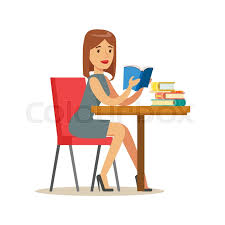woman reading a book at the table smiling person in the library vector ilration simple cartoon drawing with bookworm people loving to read and study