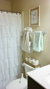 bright and fresh bathroom decor ruffle shower curtain towel holder get print neutral and mint