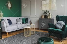 Green And Gray Interior Design Stylish Emerald Green And Grey Living Room Interior Design With