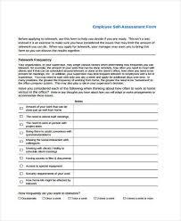7 Self Assessment Form Samples Free Sample Example Format Download