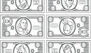 One Dollar Bill Coloring Page Coloring Play Money Coloring Sheets