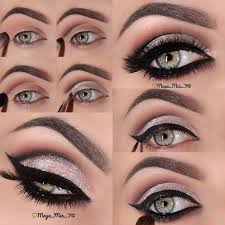 35 glitter eye makeup tutorials new year s eve look smokey glittery eyes step