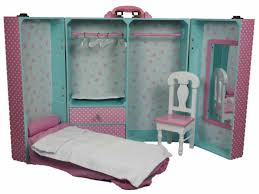 Pink Bedroom Trunk & Furniture For 18 Dolls & American Girl¨