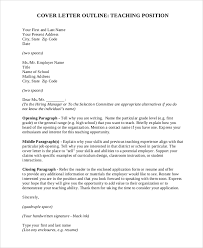 Example Cover Letter For Teaching Position Sample Teaching Cover Letter 8 Examples In Word Pdf