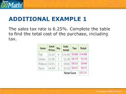 6 25 Sales Tax Chart Calculating Sales And Income Tax Ppt Download