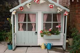 lawn garden pretty white painted wood garden playhouse design ideas with grey painted wood door also plaid red white fabric curtain added flower in