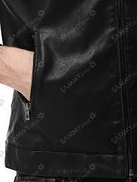 men zipper embellished faux leather jacket green 3xl crl45520