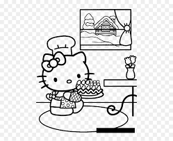 Hello kitty, the fictional character designed by japanese designer yuko shimizu, is one of the most popular subjects for kid's coloring pages. Hello Kitty Making Cake 7be1 Coloring Pages Hello Kitty Printable Coloring Pages Birthday Hd Png Download Vhv