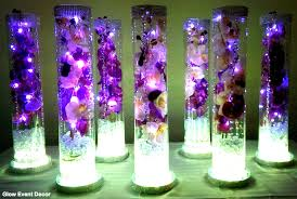 vase lighting. Cylinder Vase With Purple Orchids Wedding Table Centrepieces, Submersible LED Lighting And Light