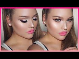 pink dolly makeup tutorial barbie doll glam glowy