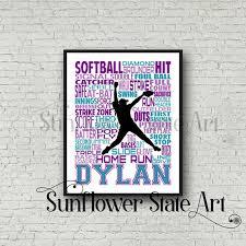 Softball Gift Softball Art Softball Poster Softball Etsy