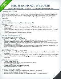 How To Make A Resume For A Highschool Student New Resume Samples For Highschool Students Applying To College High