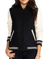 women s black and cream varsity jacket