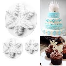 Home & Garden Wedding Cake Toppers <b>3pcs</b> Snowflake Fondant ...