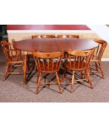 Early American Style Dining Table And Six Chairs  EBTH - Early american dining room furniture