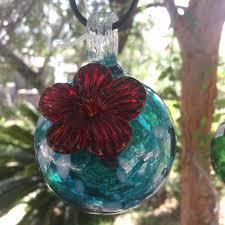 handblown glass bird feeder made in mexico