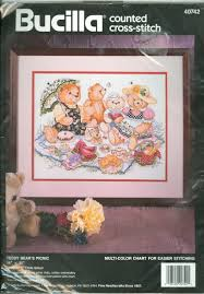 Designs For The Needle Inc Candles Holders Theodore Bear Counted Cross Stitch Kit Nip