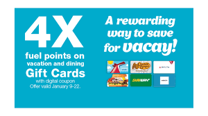 4x kroger fuel points on vacation dining gift cards
