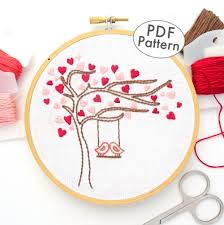 Love Hand Embroidery Designs Love Birds Heart Tree Hand Embroidery Pattern