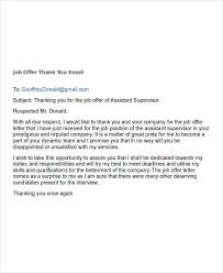 Job Offer Thank You Letter 7 Job Offer Email Examples Samples Examples