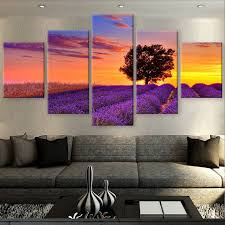 5 panel wall art painting violet sunset canvas printed home decor for living room modular poster artwork modern cuadros pictures in painting calligraphy  on lavender sunset wall art with 5 panel wall art painting violet sunset canvas printed home decor