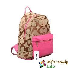 Coach Logo Monogram Medium Backpacks Pink