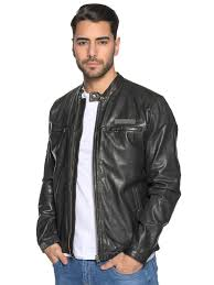 pepe jeansleather jacket black