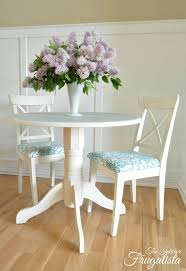 small round dining table and two chairs makeover