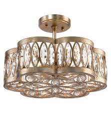 lilliana hollywood antique silver crystal mosaic semi flush ceiling mount kathy kuo home