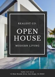 open house flyers template black and white modern house photo open house flyer templates by canva