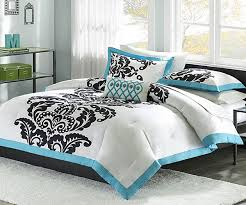 Contemporary Bedroom with Teen Girls Black White Bedding, White Comforter  With Blue Black Accents,