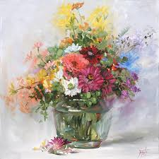900x900 mixed flowers in a glass vase 2555 painting by fernie taite flower vase painting