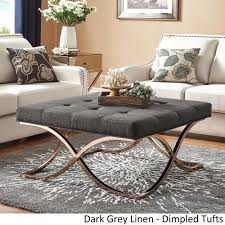 Square Ottoman Coffee Table X Base Champagne Gold By Inspire Q Dark  Upholstered: Full Size ...