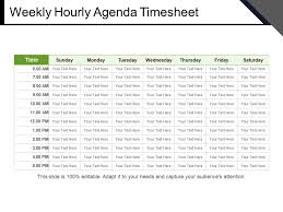 hourly agenda weekly hourly agenda timesheet powerpoint slides