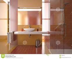Bathroom With Tiles Modern Bathroom With Red And Orange Tiles Stock Photography