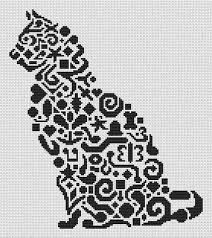 Cat Cross Stitch Patterns Interesting White Willow Stitching Tribal Cat Cross Stitch Pattern 48Stitch