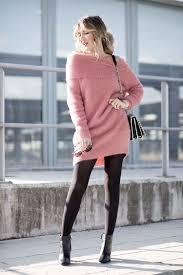 Light Pink Dress With Black Tights Pink Sweater Mi Aventura Con La Moda Pink Off The