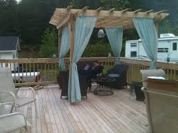 Pergola curtains for around the hot tub - covered with plastic sheet