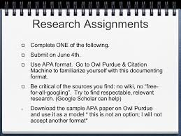 Research Assignments Complete One Of The Following Submit On June