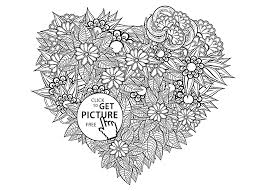 Small Picture Heart Shaped Pattern Flowers coloring page for kids for girls