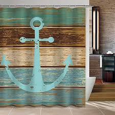 Uphome Vintage Retro Nautical Anchor Custom Bathroom Shower Curtain -  Turquoise and Brown Polyester Fabric Bathroom Curtain Ideas (72
