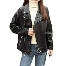 korean fashion boyfriend style leather jackets new autumn women long sleeve black pu leather jacket female loose outwear coats with 74 11 piece on