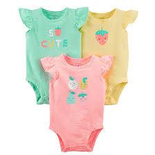 Carters Girls Green Yellow Neon Pink 3 Pack Short Sleeve Onesies