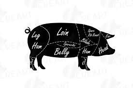 Pig Butcher Chart Art Butcher Diagram Clip Art Digital Pig Chart Pork Cuts Diagr