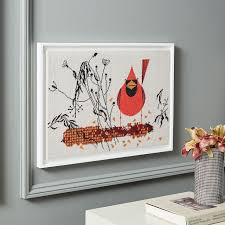 charley harper tapestry wall art red and fed cardinal on corn west elm