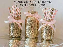 SALE, Pink and gold mason jar set, party mason jar set, Centerpiece set,  party kit, mason jars, straws not included