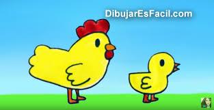 còmo dibujar una gallina y un pollito