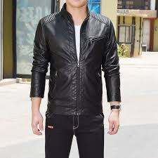 thin cotton inner autumn solid leather jacket
