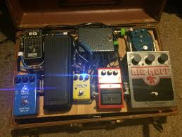 diy effect pedal board for stomp boxes homemade from a suitcase